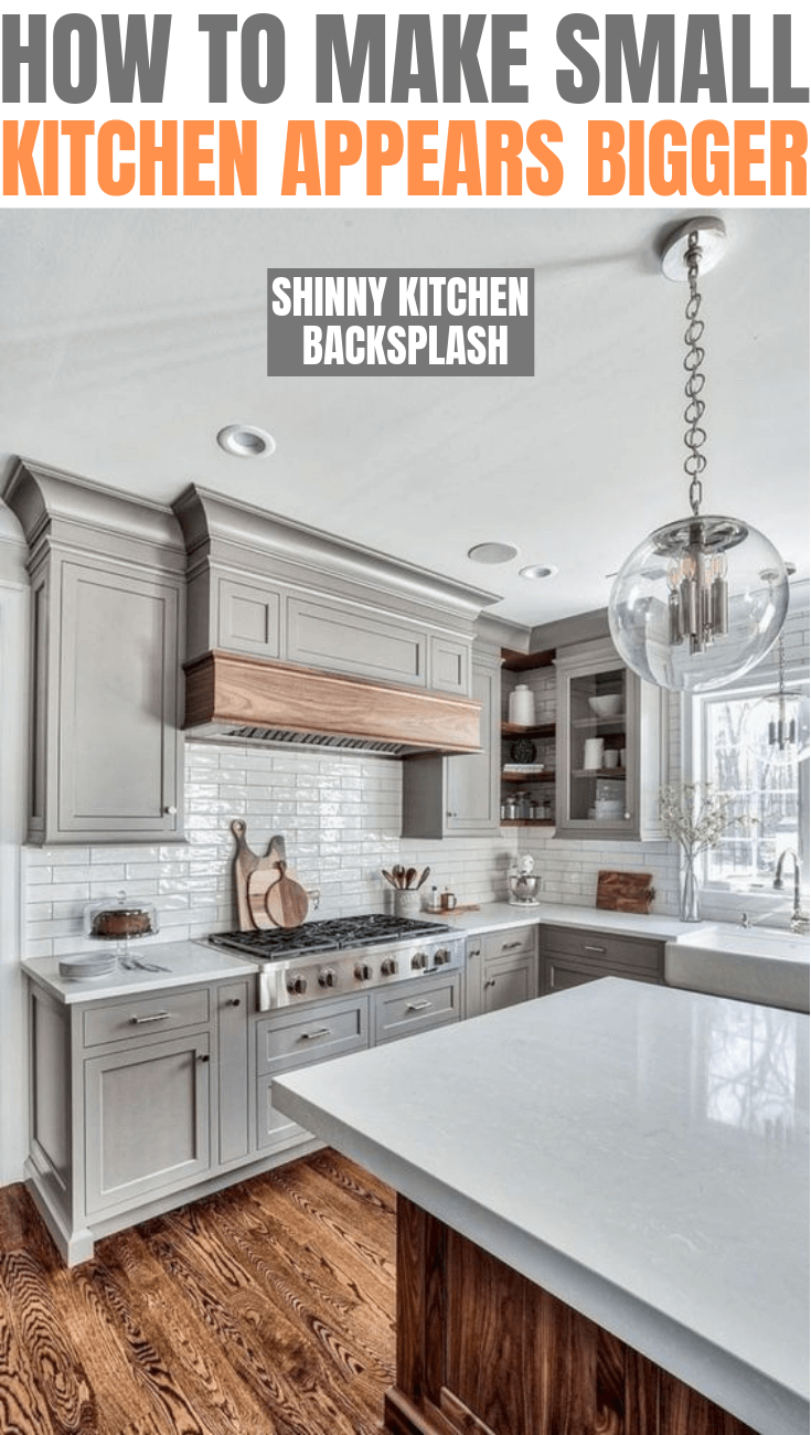 How to make small kitchen appears bigger. Use shinny kitchen backsplash