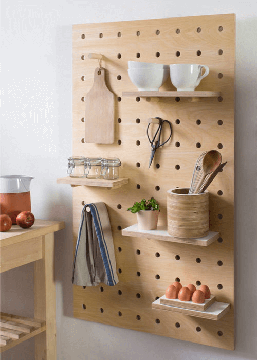 Small kitchen decor ideas with wall mounted pegboard