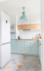 White blue light pastel color kitchen design for make small kitchen look bigger