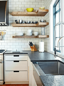 Wooden floating shelves for small kitchens