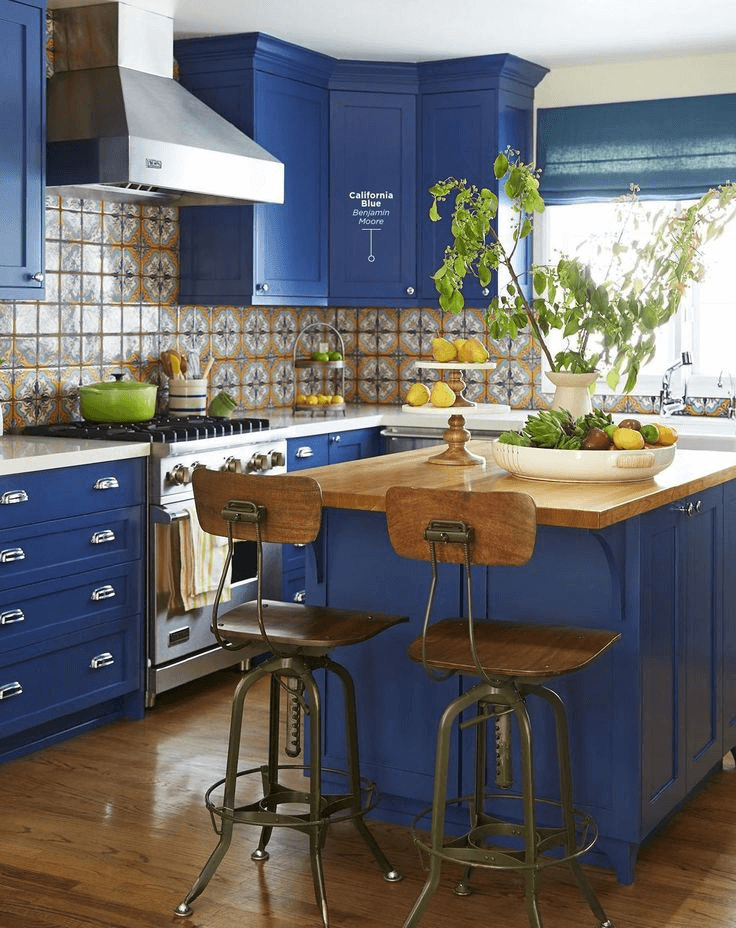 Cooper, brown, and blue small kitchen decor and design ideas with Benjamin Moore Californial