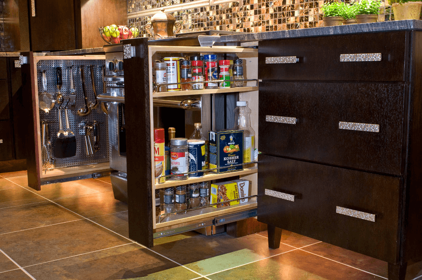 Creative space saver cabinet under workspace small kitchens