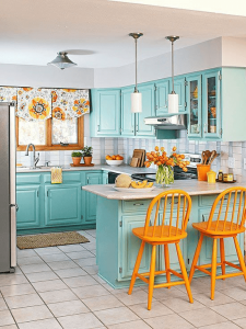 Goldenrod Yellow, Chartreuse, and Turquoise color combination for retro small kitchen decor ideas