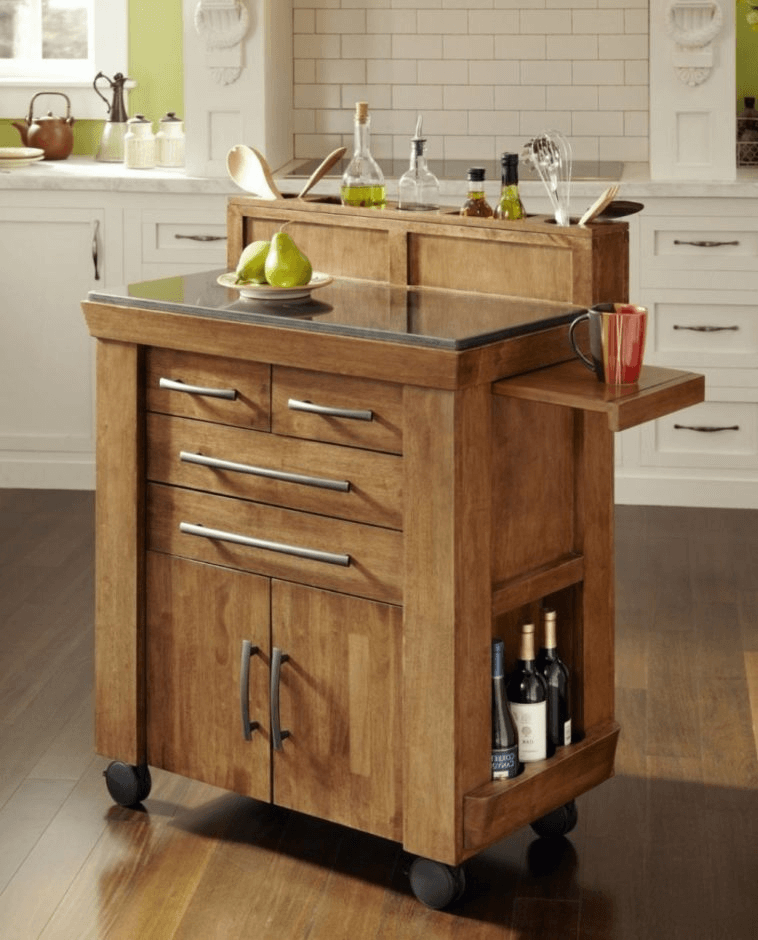 Kitchen Island with Floating Ledge Concept, Drawer, and Wind Rack