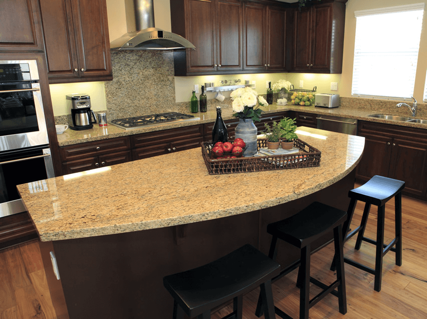 Kitchen Island with Rounded Edges Design