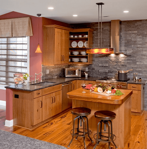 L shaped small kitchen designs lighting ideas