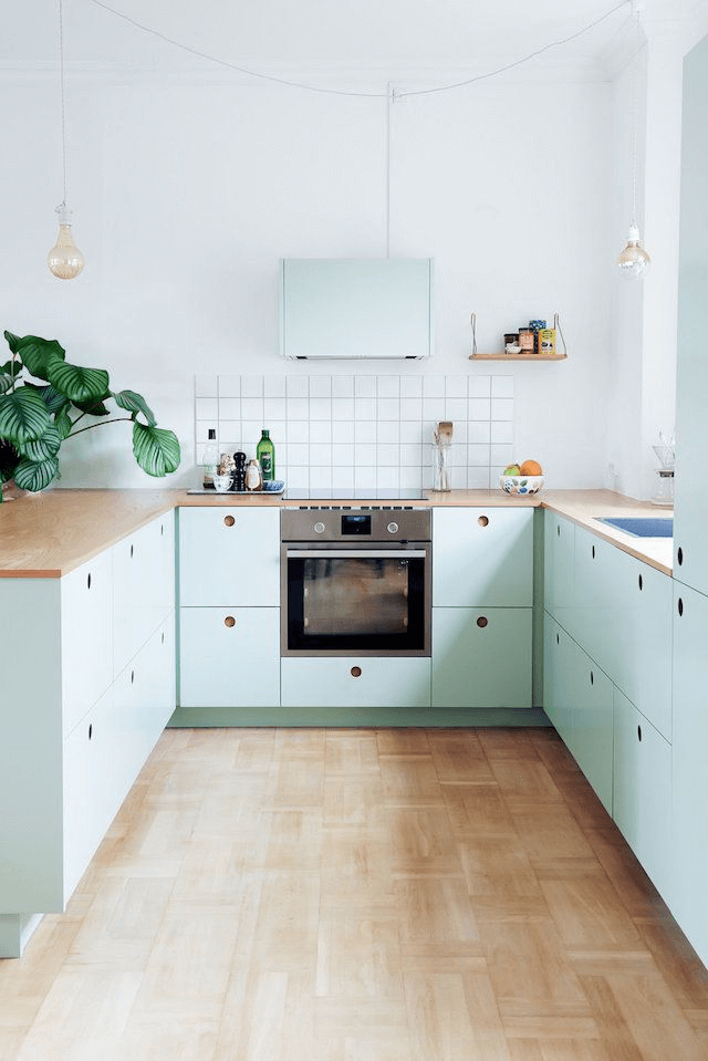 Mint Green kitchen cabinets modern small kitchen