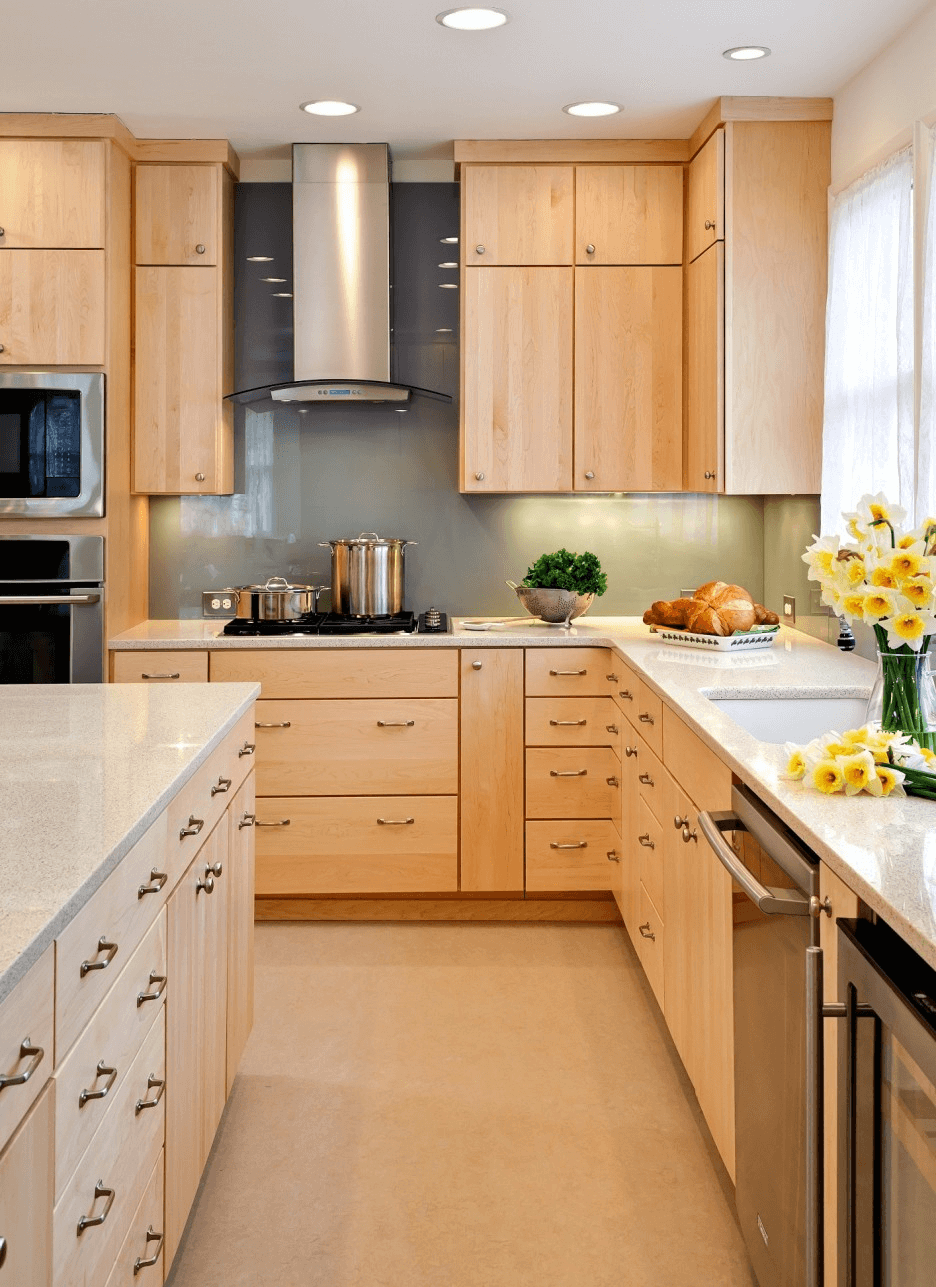Natural wood finish kitchen furniture small space