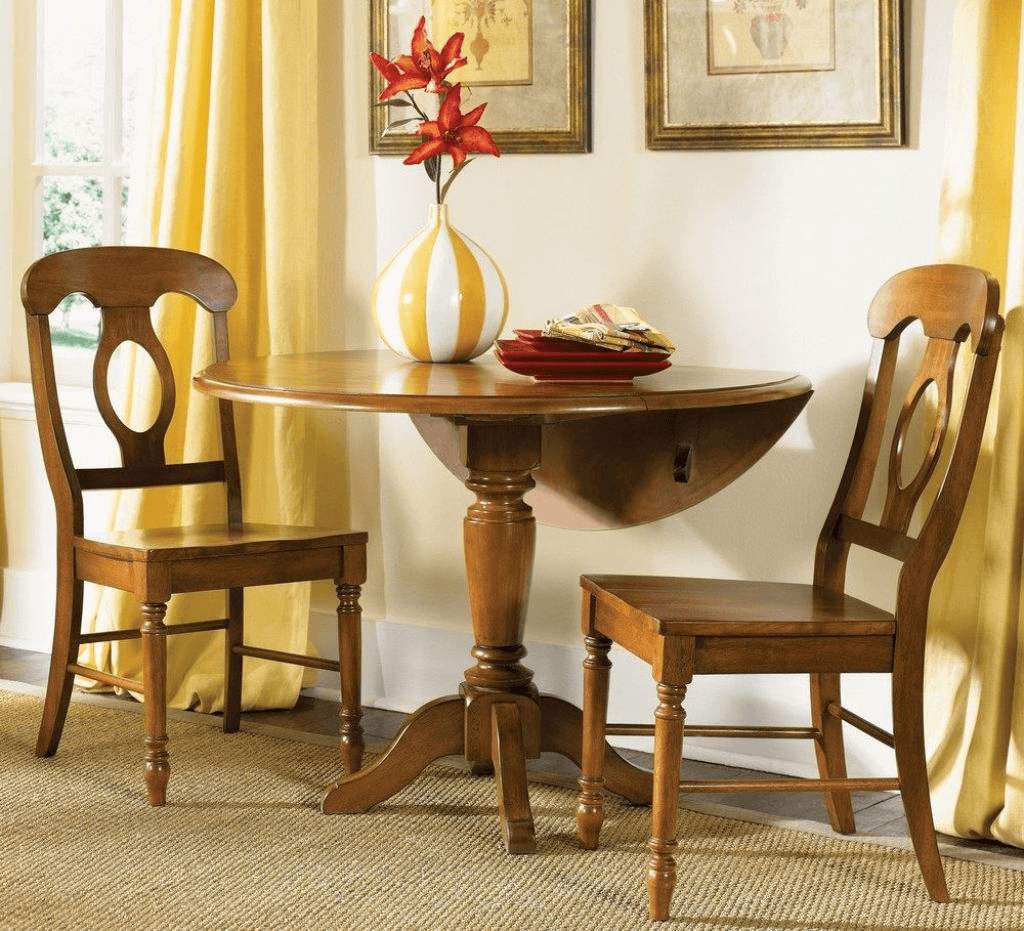 Pedestal table with drop leaf for small kitchen