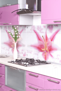 Pretty pattern backsplash small kitchen pink