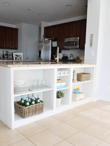 SHELVING STORAGE UNDER KITCHEN ISLAND COUNTERTOP