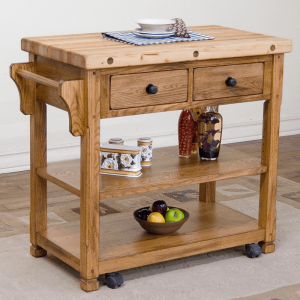 Small Portable Kitchen Island with Butcher Block Style