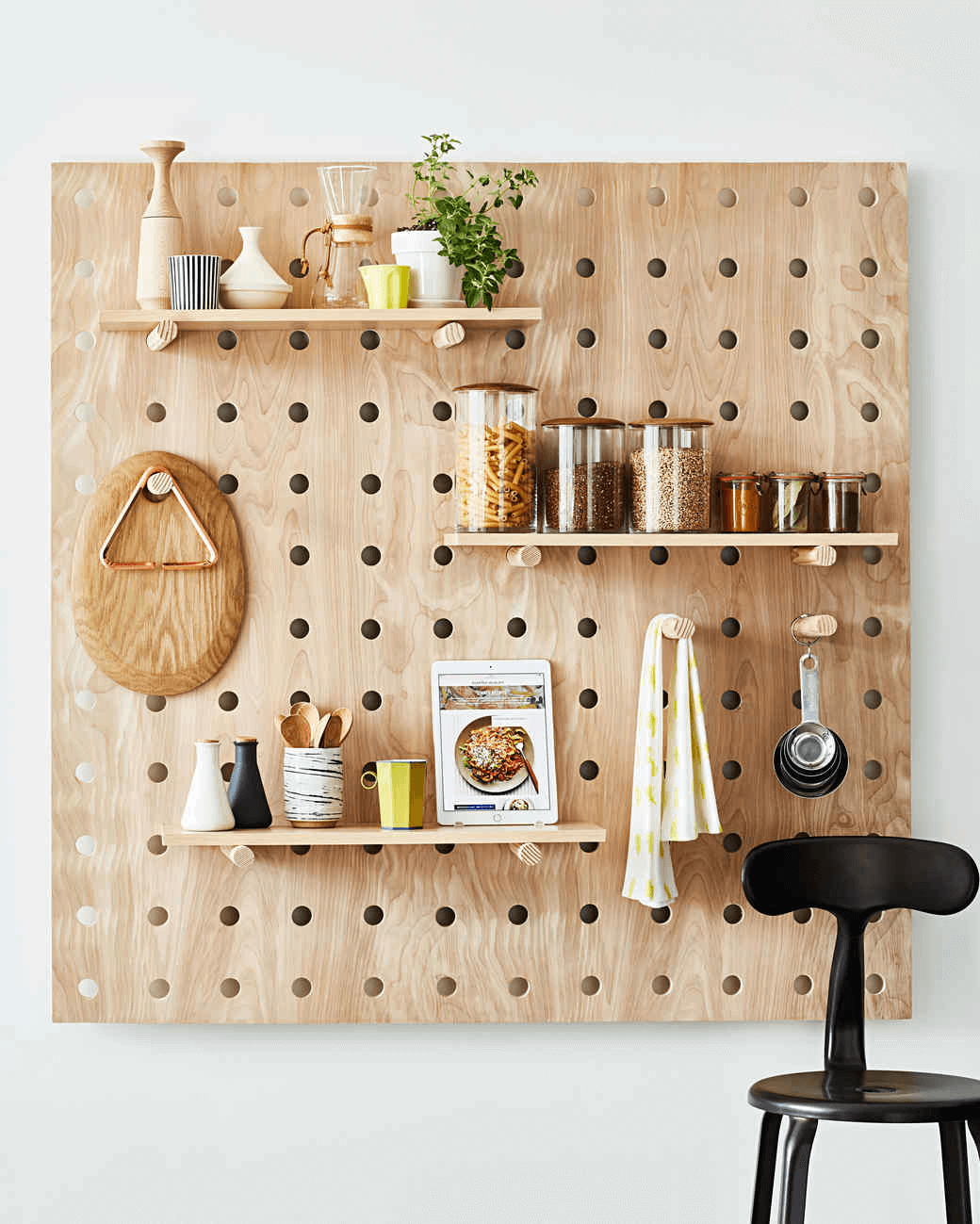 Space saver pegboards for small kitchen
