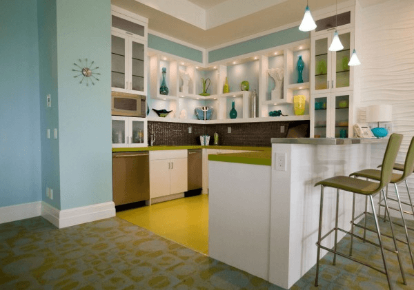 Colorful kitchen basement design ideas