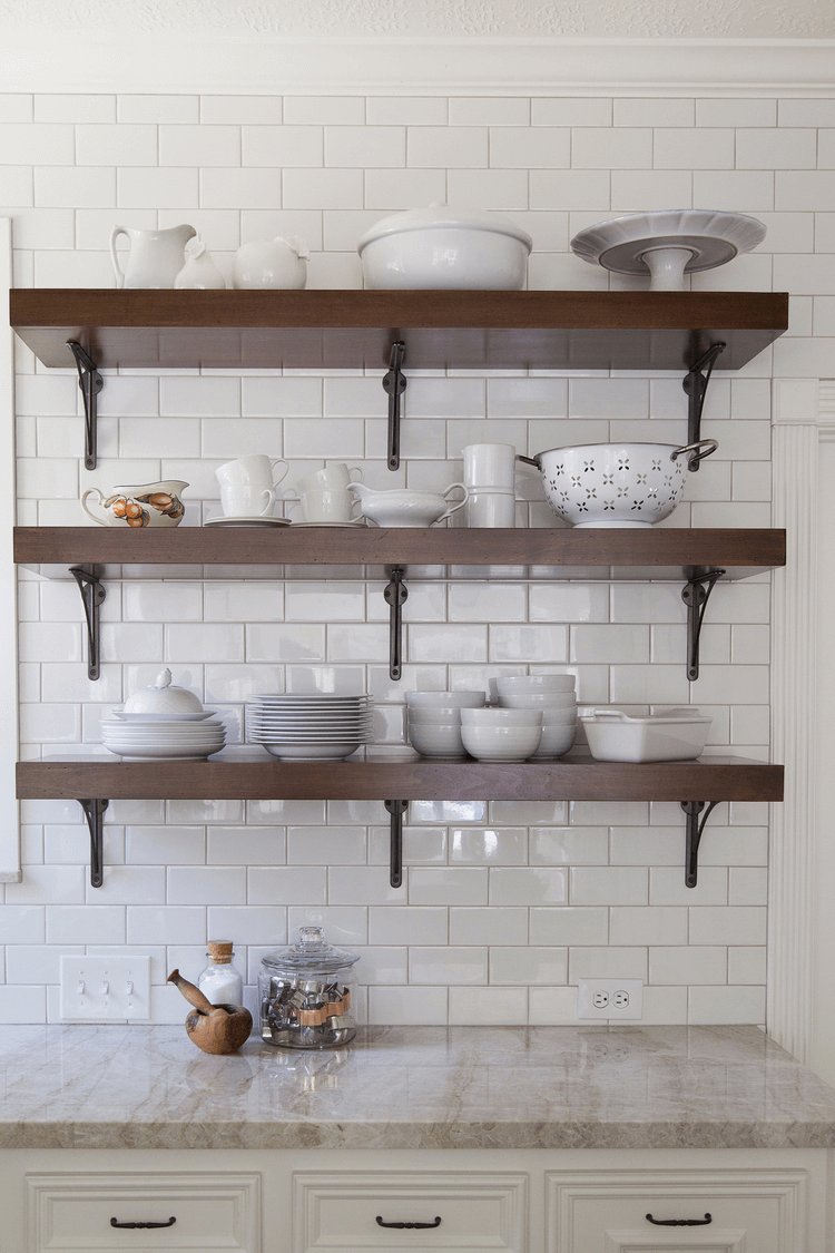 Floating shelves above counter top for small kitchen