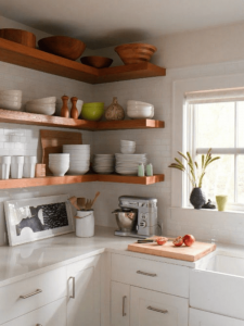Floating shelves corner small kitchen