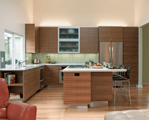 L shaped kitchen with an island narrow space
