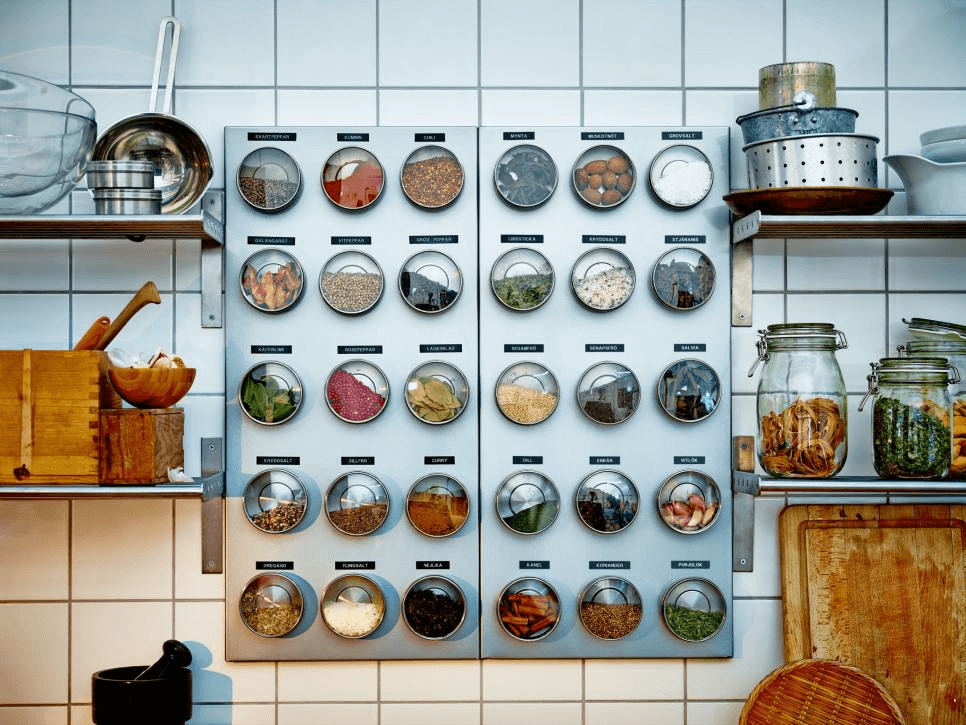 Magnetic spice jars organization ideas for small kitchen