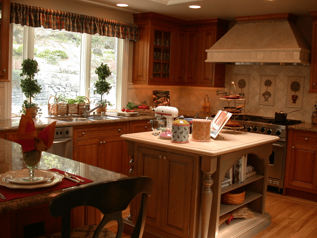 Nice storage island and small traditional kitchen cabinets