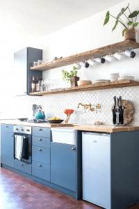 Reclaimed wood floating shelves for small kitchen ideas