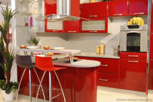 Red cabinet for small kitchen white wall