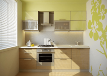 Small kitchen design ideas with wall painting natural wood furniture and green cabinets