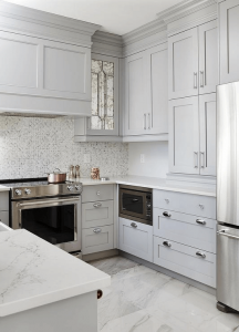 White polished marble tile floor small kitchen