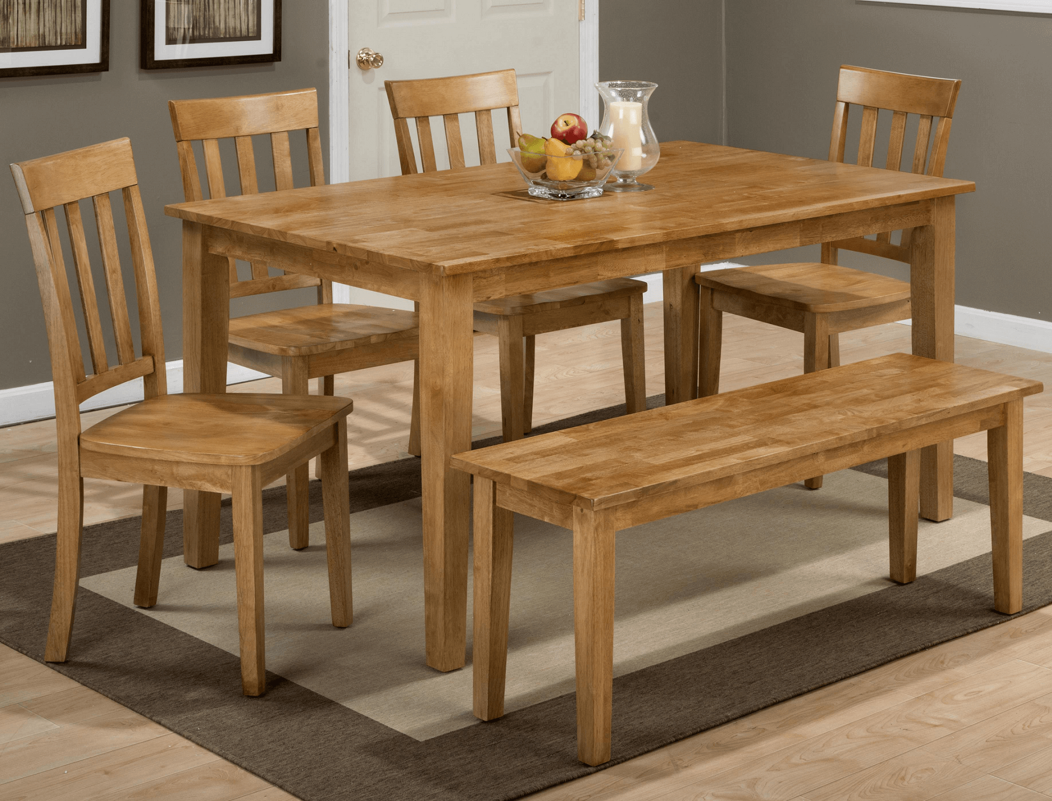 Dining table with benches and chairs