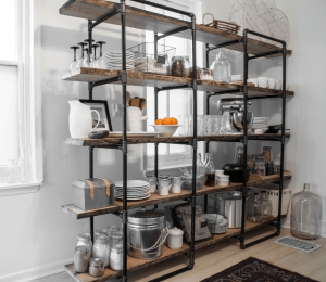 Free standing shelves in kitchen