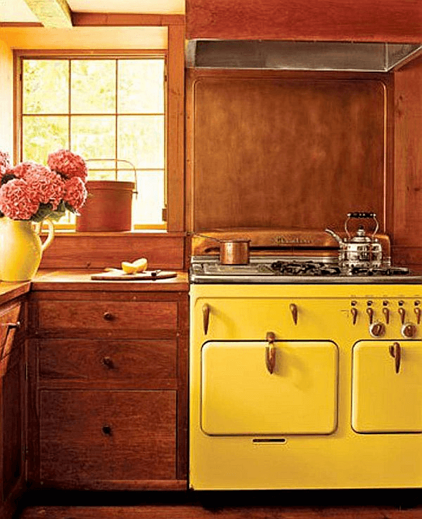 Mustard yellow appliances for small kitchen