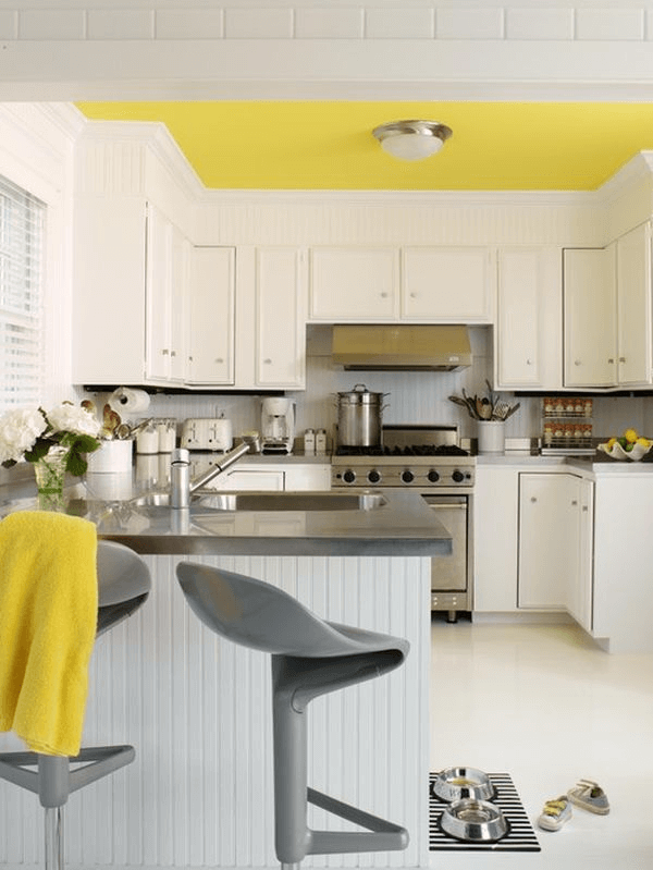 Mustard yellow small kitchen ceiling ideas