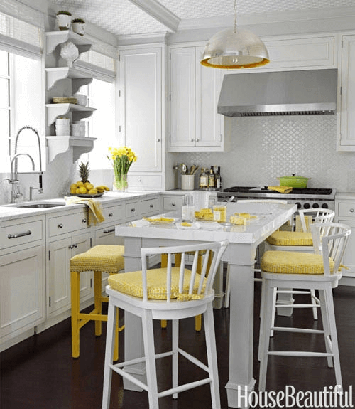 Mustard yellow small kitchen decoration ideas