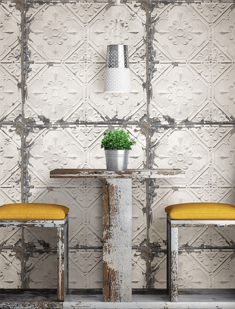 Tin wall tile interior decor for dining area small kitchen