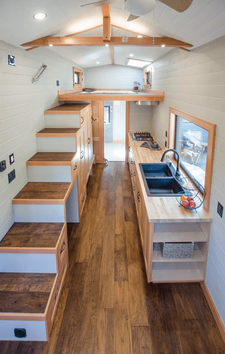 Tiny house kitchen under stairs design ideas