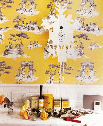 Yellow country kitchen walls wallpaper