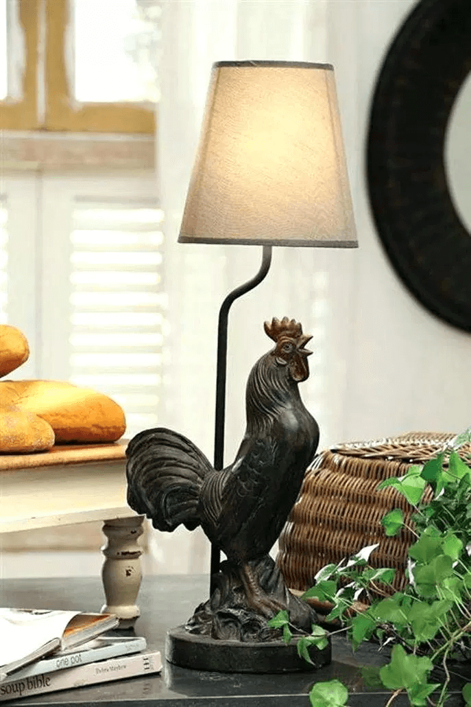 Small kitchen rooster lamp