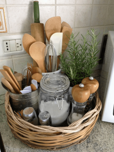 BASKET HERBS AND COOKING UTENSILS STORAGE IDEAS
