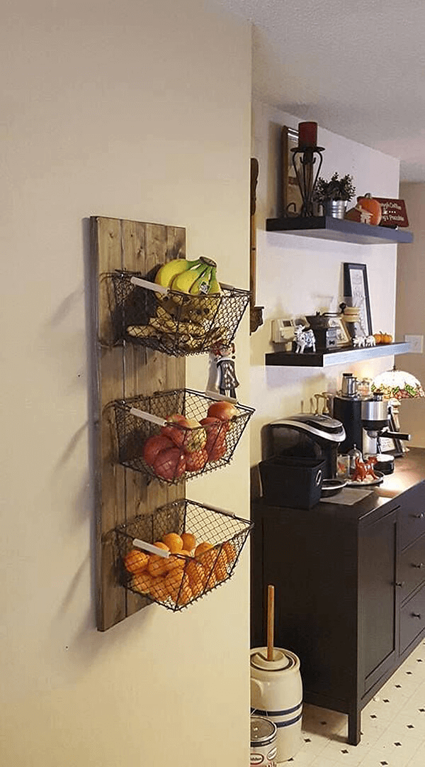 HANGING FRUIT BASKET WALL STORAGE DESIGN IDEAS