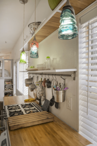 PEGBOARD, RAILS, AND HOOKS KITCHEN CABINET IDEAS FOR TINY HOUSE