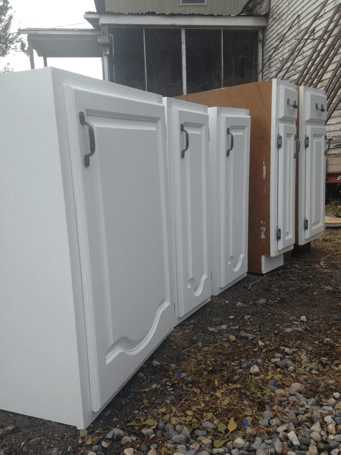 REPURPOSED OLD KITCHEN CABINET FOR TINY HOUSE