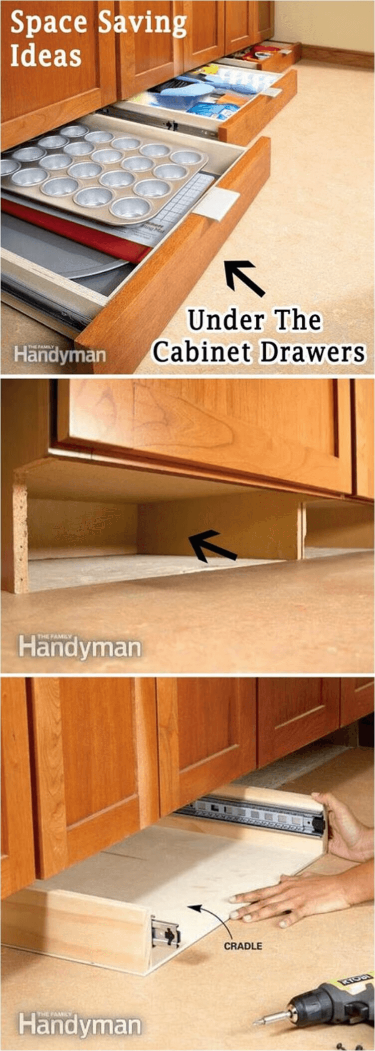 STORAGE TIPS FOR SMALL KITCHEN. DRAWER UNDER CABINET DESIGN IDEAS