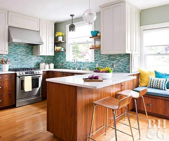 BLUE, COPPER, AND BROWN COLOR SCHEMES IDEAS FOR APARTMENT KITCHEN