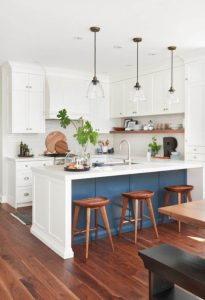 BLUE, WHITE, AND SOME EARTH TONES APARTMENT KITCHEN COLOR SCHEMES IDEAS