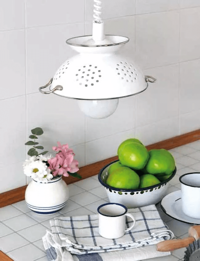 DIY APARTMENT KITCHEN DECOR ON A BUDGET WITH OLD STRAINER PENDANT LIGHT