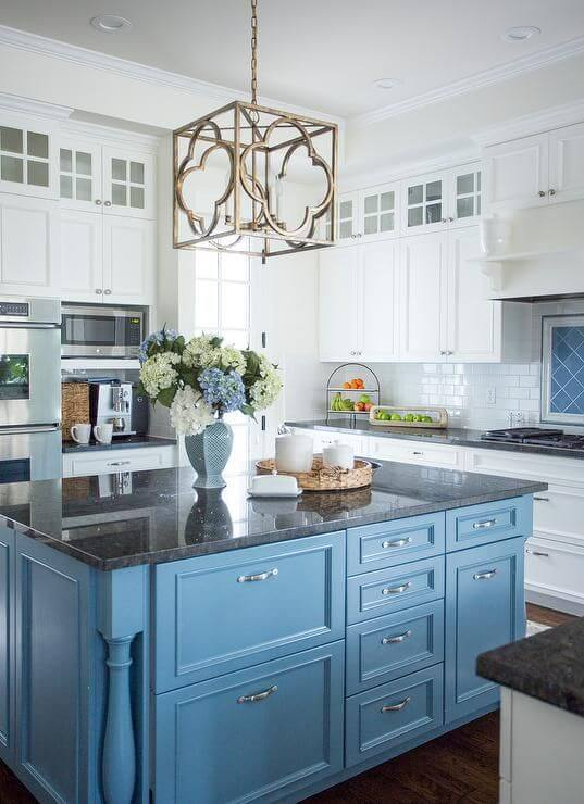 LAYERS OF COOL BLUE APARTMENT KITCHEN COLOR SCHEMES IDEAS