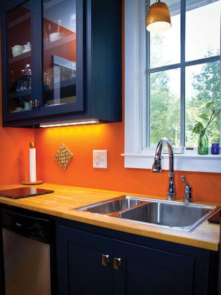NAVY BLUE AND ORANGE APARTMENT KITCHEN COLOR SCHEMES IDEAS