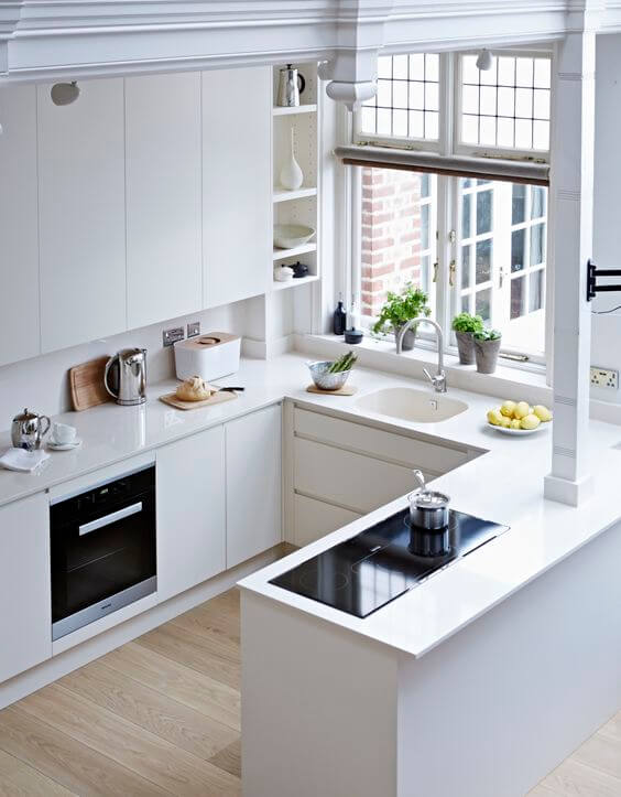 SUPER CLEAN WHITE COLOR IDEAS FOR APARTMENT KITCHEN SCHEMES