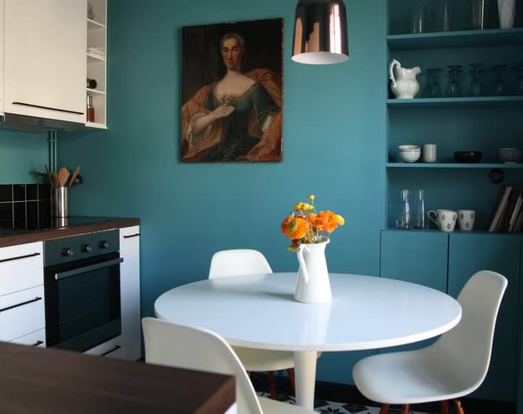 THE TEAL WALL APARTMENT KITCHEN COLOR SCHEMES IDEAS