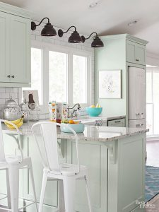 WHITE WITH AQUA AND MINT GREEN APARTMENT KITCHEN COLOR SCHEMES IDEAS