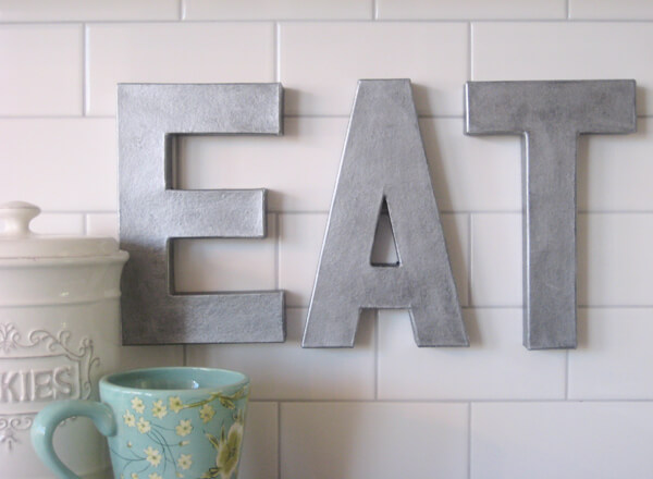 ZINC LETTERS FOR APARTMENT KITCHEN DECOR ON A BUDGET